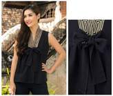 Unique Thai Cotton Blouse Sleeveless Top, 'Relax in Black'