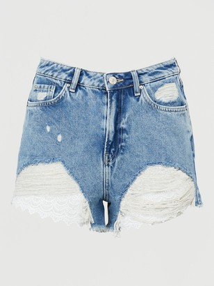 Very Crochet Hem Denim Shorts - Mid Wash