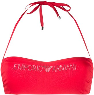 Emporio Armani Studded Logo Bandeau Bikini Top