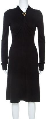 Roberto Cavalli Black Knit Serpent Brooch Detail Long Sleeve Dress S