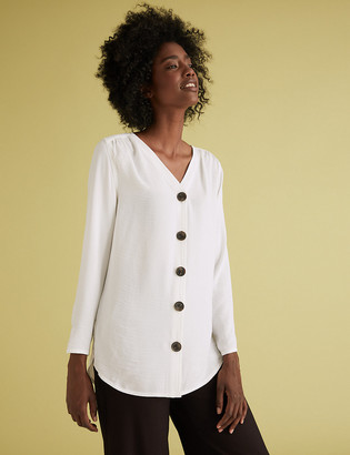Marks and Spencer V-Neck Button Detail Long Sleeve Tunic