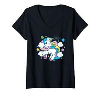 Womens Girls Unicorn Love Rainbow Unicorns Magical Cartoon Gift V-Neck T-Shirt
