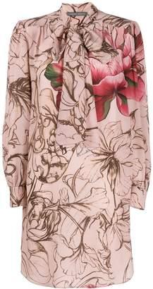 Alberta Ferretti floral print bow tie dress