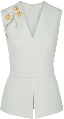 Safiyaa Pale Blue Embellished Stretch-cady Top