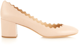 Chloé Lauren scalloped-edge block-heel leather pumps