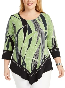 Alfani Plus Size Tropical-Print Asymmetrical Hem Top, Created for Macy's