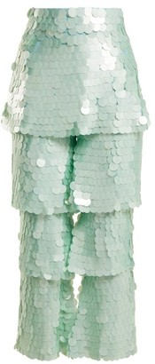 Osman Felix Tiered Sequin-embellished Trousers - Womens - Light Green