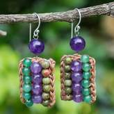 Crocheted Earrings with Unakite, Amethyst and Quartz, 'Ethnic Parallels'