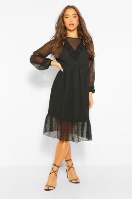 boohoo Dobby Mesh Frill Detail Ruffle Hem Midi Dress