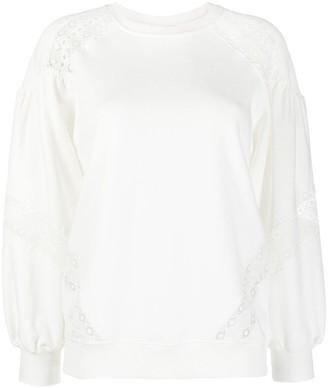 Twin-Set Embroidered-Trim Cotton Sweatshirt