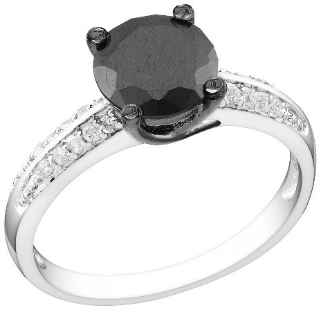 3 CT.T.W. Black & White Cubic Zirconia Bridal Ring in Sterling Silver