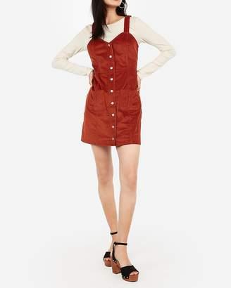 Express Corduroy Button Front Patch Pocket Sheath Dress