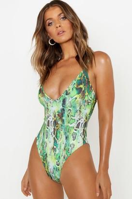 boohoo Neon Snake Scoop Swimsuit