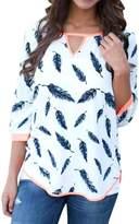 ROPALIA Womens V-neck 3/4 Long Sleeve T-shirts Casual Leaves Print Tops Blouse