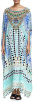 Camilla Printed Embellished Round-Neck Maxi Caftan Coverup, Andalusia