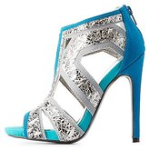 Charlotte Russe Qupid Cut-Out Colorblock Sandals