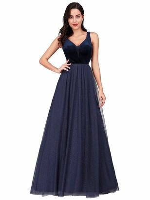 Ever Pretty Ever-Pretty Women's Velvet V Neck Floor Length A Line Tulle with Glitter Long Prom Dresses Burgundy 12UK