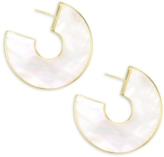 Ippolita Polished Rock Candy 18K Yellow Gold & Mother-Of-Pearl Shell Hoop Earrings