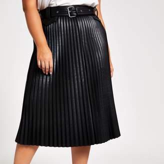 River Island Womens Plus Black faux leather pleated midi skirt