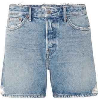 GRLFRND Jourdan Distressed Denim Shorts - Mid denim