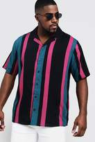 BoohooMAN Big & Tall Stripe Print Revere Collar Shirt