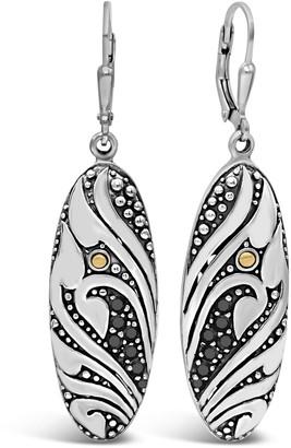 Devata Sterling Silver Bali Filigree Black Spinel Leverback Earrings
