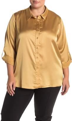 Everleigh Satin Button Front Shirt (Plus Size)