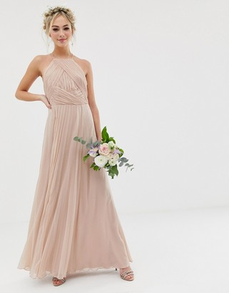Asos Design DESIGN Bridesmaid pinny maxi dress with ruched bodice-Pink