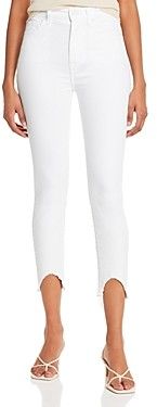 7 For All Mankind Ankle Skinny Jeans with Wave Hem in Clean White