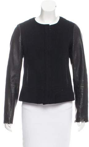 Vince Leather-Accented Wool Jacket