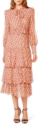 Bardot Lainey Floral Long Sleeve Tiered Chiffon Maxi Dress