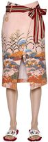 Stella Jean Printed Cotton Skirt With Striped Belt