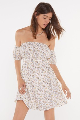 Nasty Gal Womens Got It Growing On Floral Off-the-Shoulder Dress - White - 14