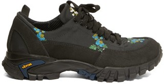 Cecilie Bahnsen X Diemme Max Floral-embroidered Hiking Trainers - Black Multi