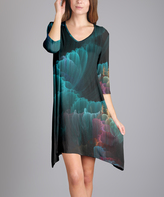 Aster Teal Abstract Sidetail Dress - Plus Too