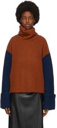 Victoria Victoria Beckham Orange and Beige Wool Jumbo Cuff Jumper Sweater