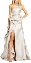 Mac Duggal Metallic One-Shoulder Asymmetric Vertical Ruffle Gown