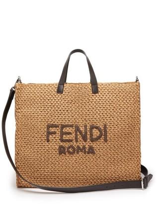 Fendi Handwoven Leather-trimmed Raffia Tote - Brown