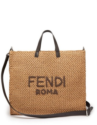 Fendi Handwoven Leather-trimmed Raffia Tote - Mens - Brown