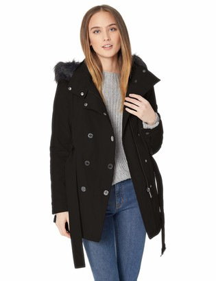 Calvin Klein Women's Short Faux Fur Trimmed Soft Shell Belted with Double SNAP Front Closure