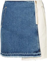 Sjyp Distressed Patchwork Denim Mini Skirt - Mid denim