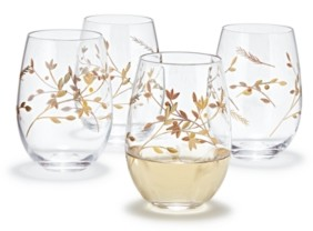 Hotel Collection Gold Floral Etched Stemless Wine Glasses, Set of 4, Created for Macy's