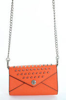Rebecca Minkoff Orange Leather Studded Wallet On A Chain Crossbody Size Mini