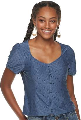 American Rag Juniors' Peplum Inset Trim Top
