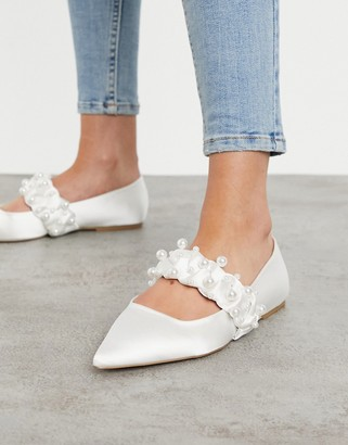 ASOS DESIGN Liberty embellished plaited mary jane pointed ballet flats in ivory