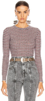 John Elliott Fil Coupe Alpaca Cropped Crew Sweater in Pink Stripe | FWRD