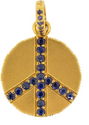 Buddha Mama Small Blue Sapphire Peace Sign Pendant