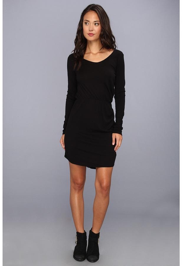 LAmade Drape Front Dress (Black) - Apparel