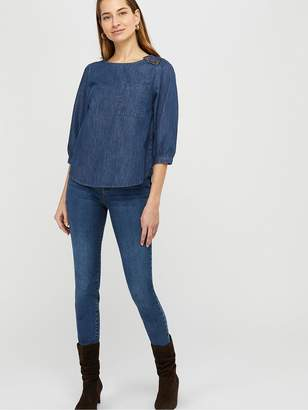 Monsoon Eboni Organic Cotton Denim Tee - Blue