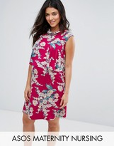 Asos NURSING Floral Print Frill Double Layer Dress